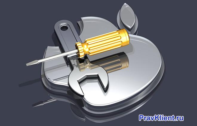 Логотип Айфона, отвертка, ключ