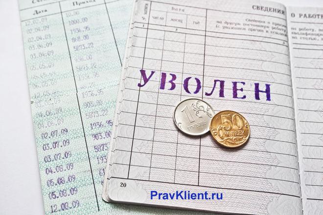 Запись об увольнении в трудовой книжке, монеты