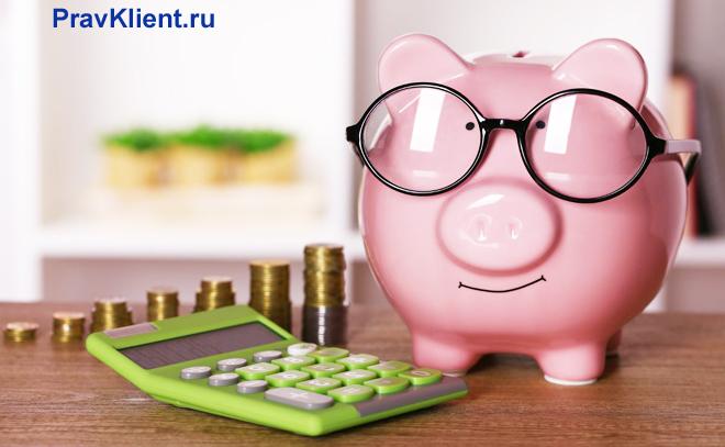 Копилка-хрюшка в очках, салатовый калькулятор, монетки