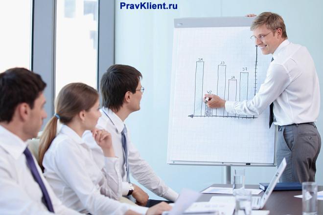 Мужчина поясняет графики продаж коллегам