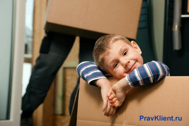Мальчик сидит в картонной коробке, взрослые собирают вещи для переезда