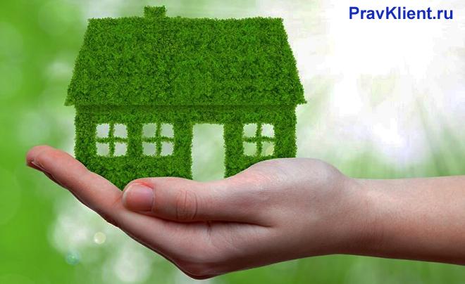 Девушка держит в руке домик из травы