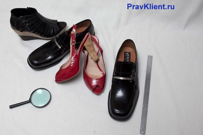 Мужская, женская обувь, линейка, лупа