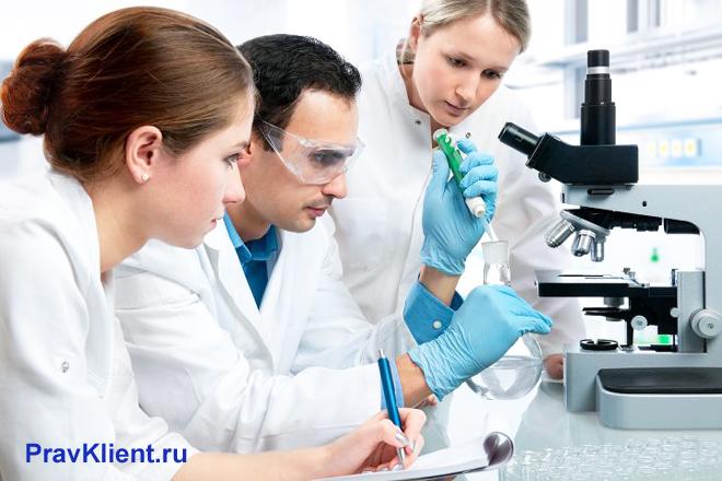 В лаборатории ученые проводят эксперементы