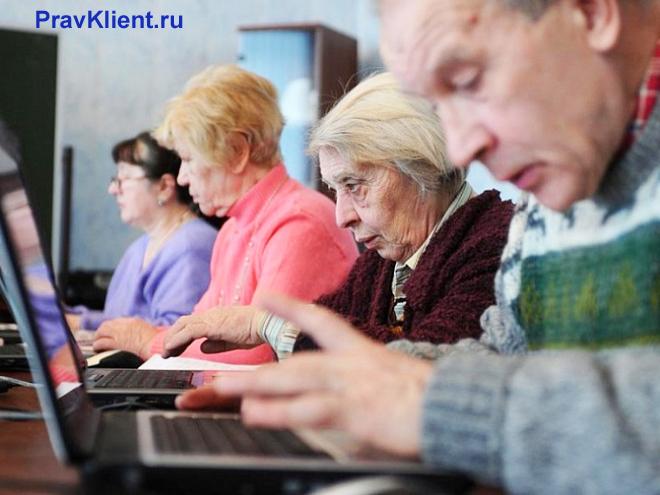 Пенсионеры работают за ноутбуками