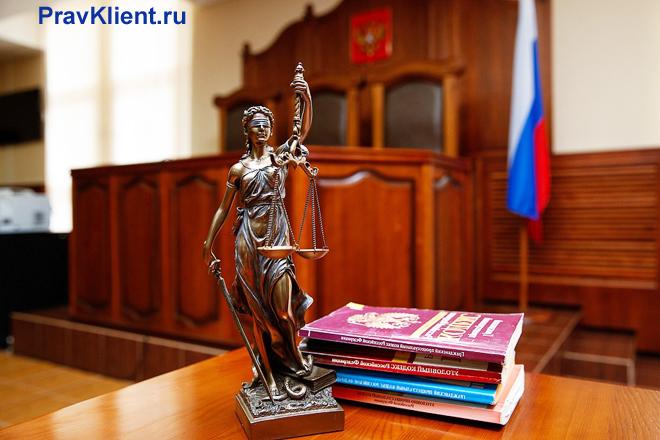 В зале судебных заседаний стоит статуэтка Фемиды, книги