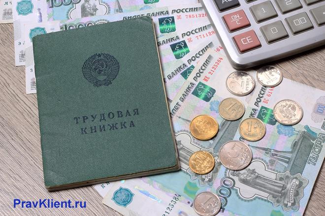 Зеленая трудовая книжка, монеты, денежные купюры, калькулятор