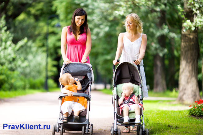 Молодые мамы гуляют с колясками в парке