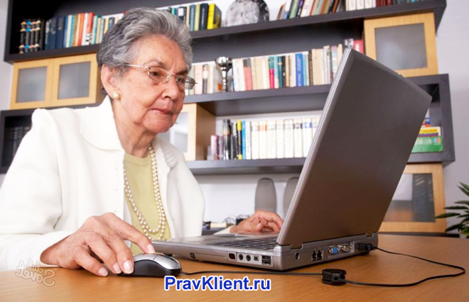 Пенсионерка работает за ноутбуком дома